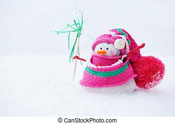 bonhomme de neige, debout, hiver, neige