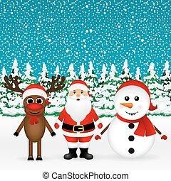 bonhomme de neige, debout, renne, claus, santa