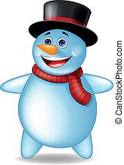 bonhomme de neige, dessin animé, heureux