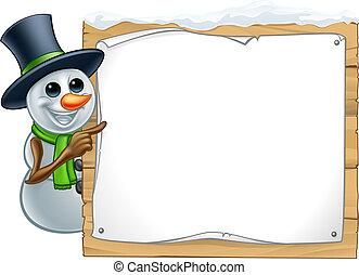 bonhomme de neige, dessin animé, noël, signe