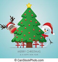 bonhomme de neige, dons, derrière, arbre, renne