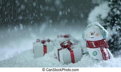 bonhomme de neige, dons, neige, noël, sous