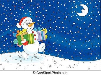bonhomme de neige, dons, noël