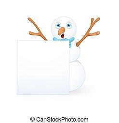 bonhomme de neige, effrayé, bannière, noël