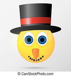 bonhomme de neige, emoji, illustration., smiley., vecteur, emoticon