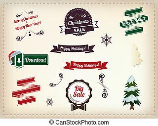 bonhomme de neige, ensemble, éléments, vendange, -, typographique, collection, calligraphic, décoration, labels., santa, autocollants, rubans, noël chapeau