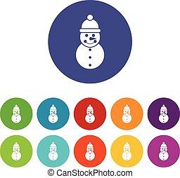bonhomme de neige, ensemble, icônes