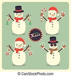 bonhomme de neige, ensemble, noël