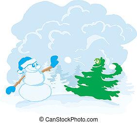 Boules neige arbre no l hiver dessin anim arbre - Arbre boule de neige ...