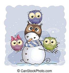 bonhomme de neige, et, hiboux