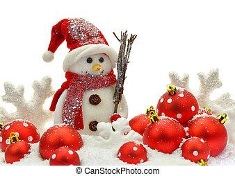 bonhomme de neige, et, noël ornements, sur, neige