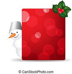 bonhomme de neige, etiquette don, baie, vide, houx, homme