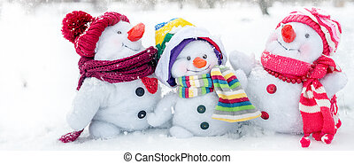 bonhomme de neige, famille, heureux