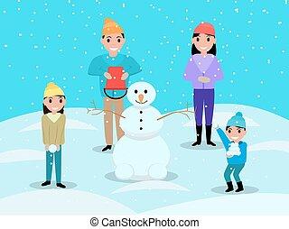 bonhomme de neige, famille, jouer, boules neige, dessin animé, heureux