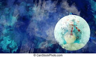 bonhomme de neige, fond, aquarelle, balle, noël, coloré, blots.