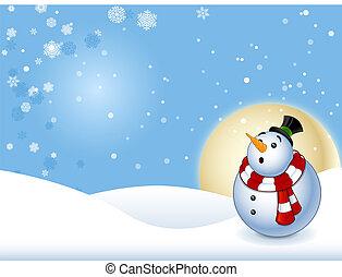 bonhomme de neige, fond, heureux