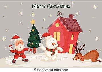 bonhomme de neige, fond, salutation, santa, joyeux, vacances, noël carte