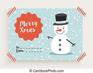 bonhomme de neige, gabarit, retro, joyeux noël, carte
