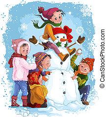 bonhomme de neige, games., hiver, enfants