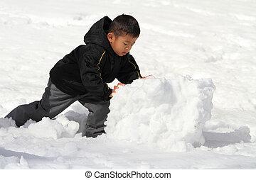 bonhomme de neige, garçon, japonaise, confection