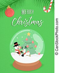 bonhomme de neige, globe, ornement, neige, joyeux noël, carte