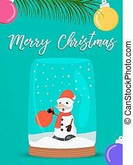 bonhomme de neige, globe, salutation, neige, joyeux noël, carte