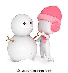 bonhomme de neige, gosse