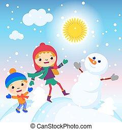 bonhomme de neige, gosses, ensoleillé, illustration, vecteur, confection, jour