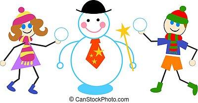 bonhomme de neige, gosses