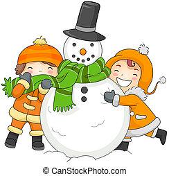 bonhomme de neige, gosses, jouer