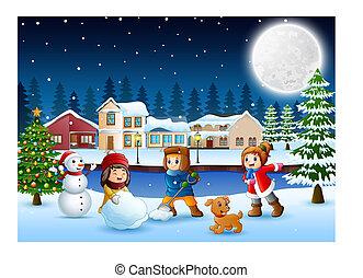 bonhomme de neige, gosses, neigeux, village, confection, heureux