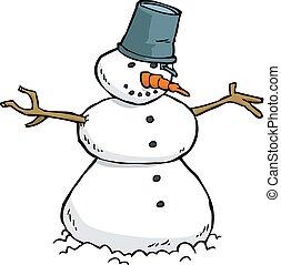 bonhomme de neige, griffonnage, dessin animé