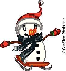 bonhomme de neige, gris, châle, planche, glissement, heureux