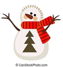 bonhomme de neige, gros plan, illustration., isolé, arrière-plan., vecteur, blanc, dessin animé