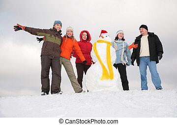 bonhomme de neige, groupe, amis