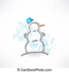 bonhomme de neige, grunge, icône