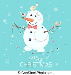 bonhomme de neige, guirlande, caractère, noël allume, oiseaux