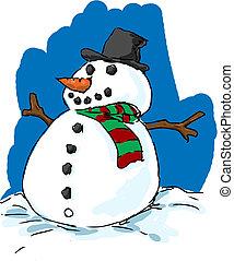 bonhomme de neige, habillé, puits