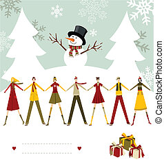 bonhomme de neige, heureux, card., noël