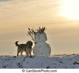 bonhomme de neige, hiver, chien