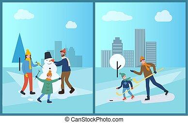 bonhomme de neige, hiver, famille, parc, neige, sculpts