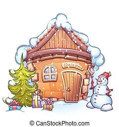 bonhomme de neige, hiver, illustration, vecteur, maison, firtree, dessin animé