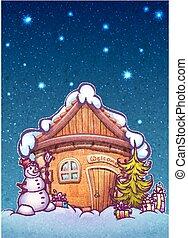 bonhomme de neige, hiver, illustration, vecteur, nuit, maison, firtree, dessin animé