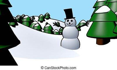 bonhomme de neige, hiver, neige, fetes, onduler, dessin animé, noël heureux, boucle, homme