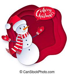 bonhomme de neige, illustration, couper papier, vecteur