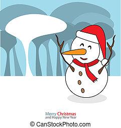 bonhomme de neige, illustration., noël, vecteur, fond, nuit, jour