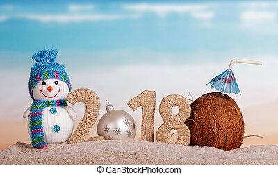 bonhomme de neige, inscription, noix coco, balle, paille, blanc, nombre, nouveau, sable, plage., année, instead, 2018, noël, 0