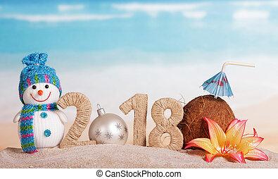 bonhomme de neige, inscription, noix coco, balle, sand., blanc, nombre, nouveau, paille, fleur, année, instead, 2018, noël, 0