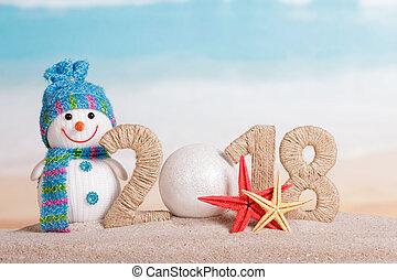 bonhomme de neige, inscription, plage., etoile mer, -, nombre, nouveau, 0, sable, année, instead, boule blanche, 2018