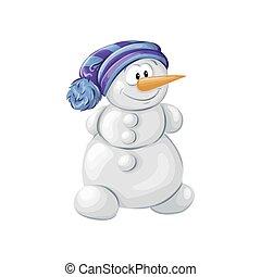 bonhomme de neige, isolé, arrière-plan., vecteur, noël blanc